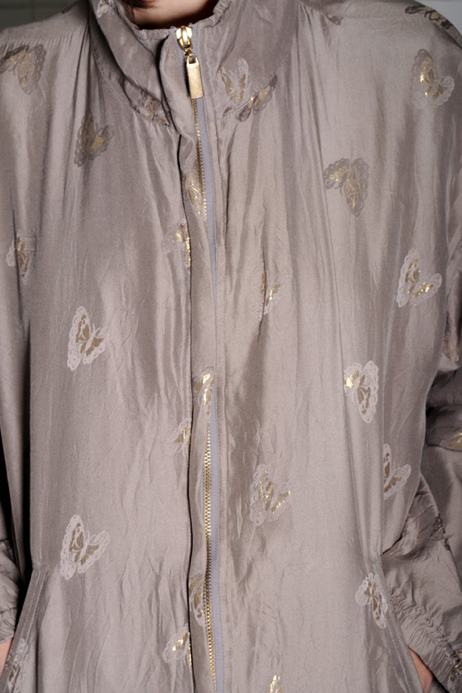 Butterfly Print Silk Windbreaker