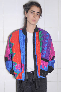 Colorful Geometric Print Bomber
