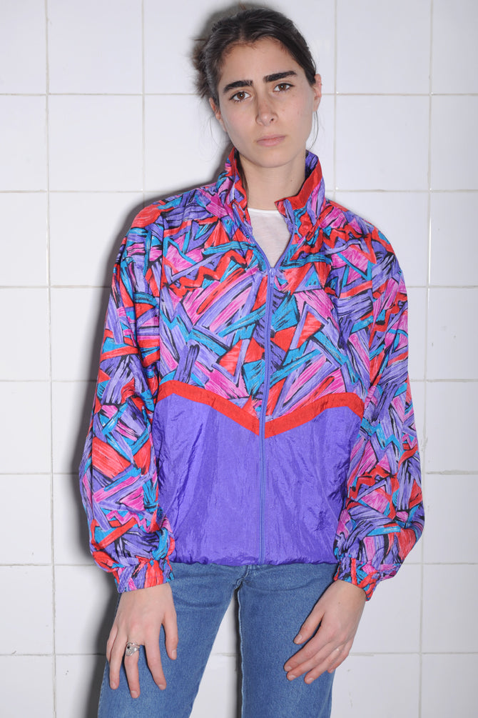 Multicolored Geometric Windbreaker