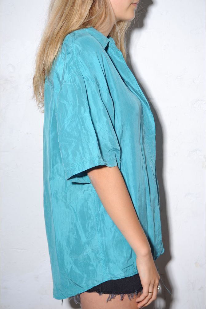 Turquoise Silk Button Down