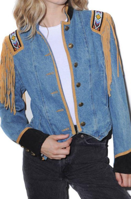 Fringe Denim Marching Band Jacket
