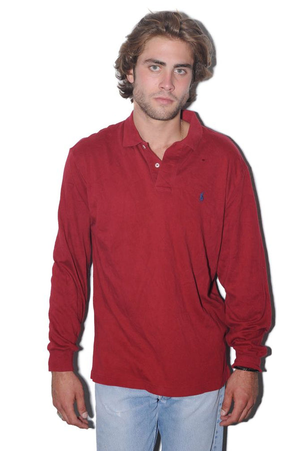 Red Ralph Lauren Long Sleeve Polo