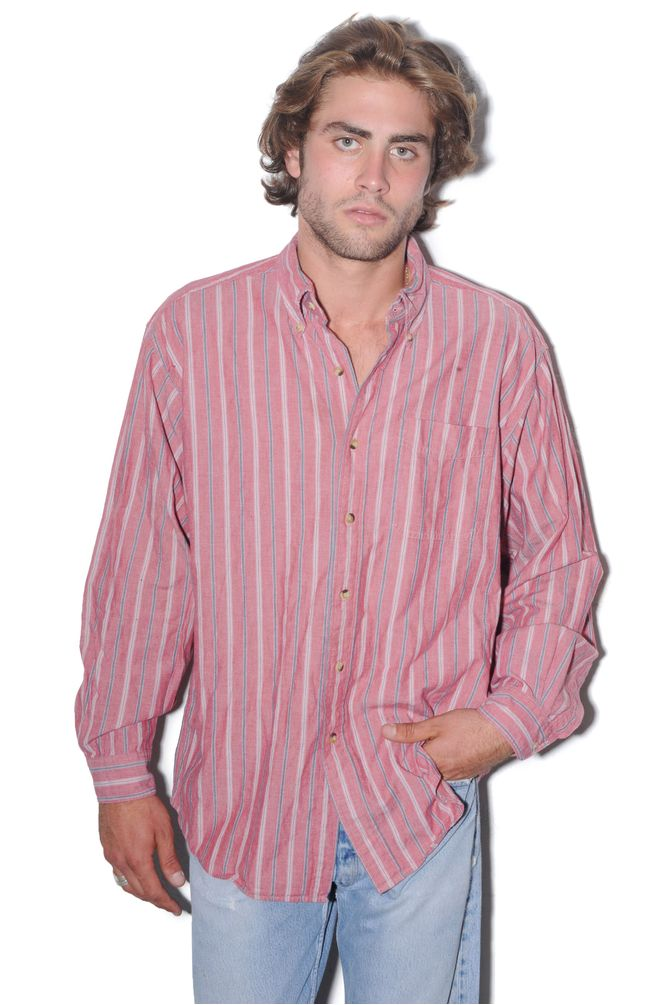 Pink Striped Button Down