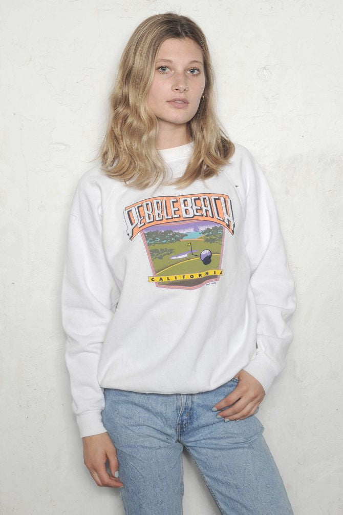 White Pebble Beach California Sweatshirt