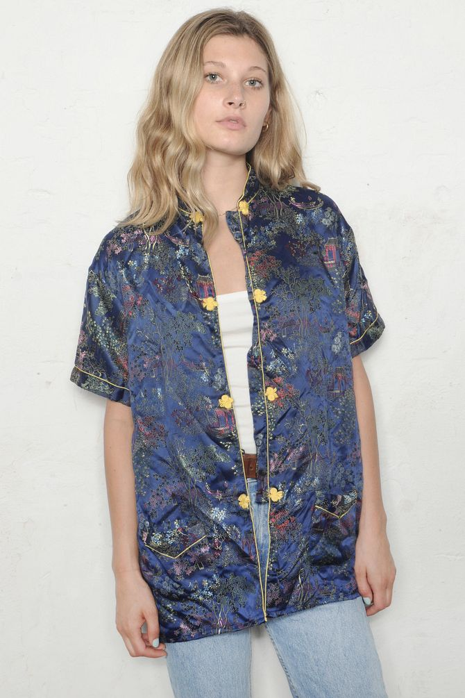 Satin Floral Button Down