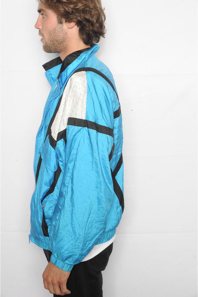 Bright Blue Colorblock Windbreaker
