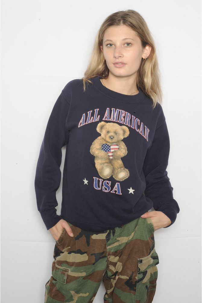 Navy USA Teddy Bear Sweatshirt