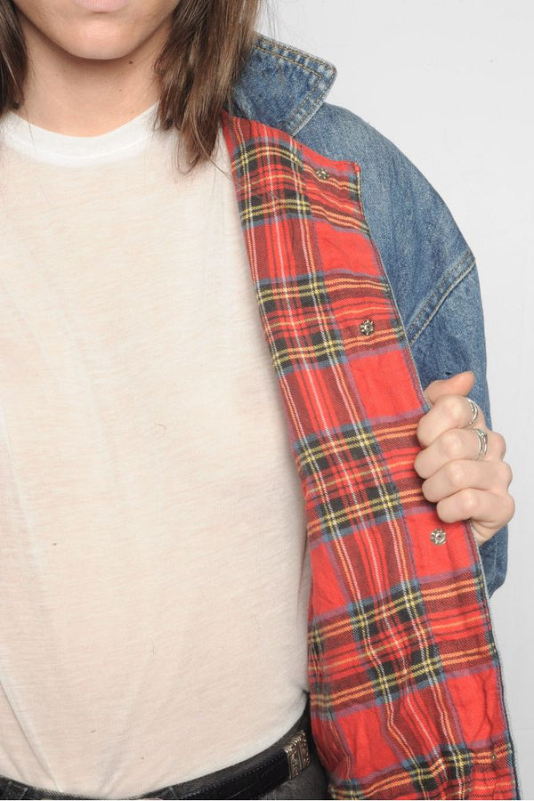 Plaid Lined Denim Jacket
