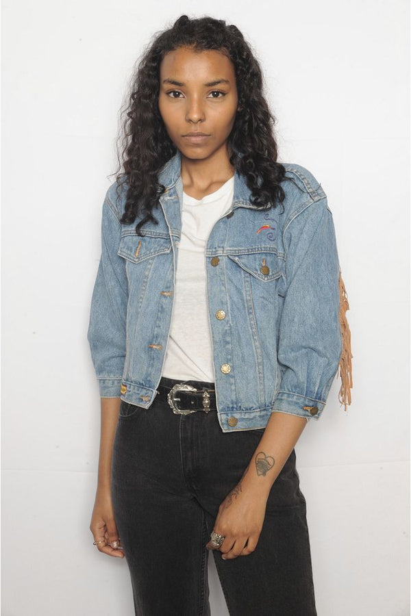 Pocahontas Patched Denim Jacket