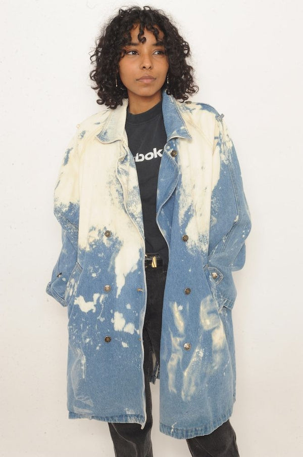 Bleached Trench Denim Jacket