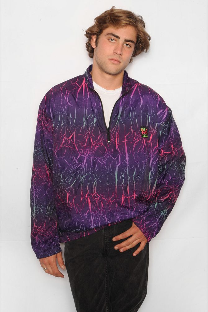 Lightning Pattern Windbreaker