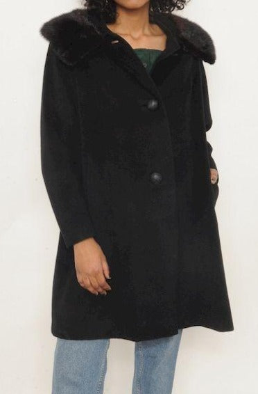 Mink Trimmed Black Wool Coat