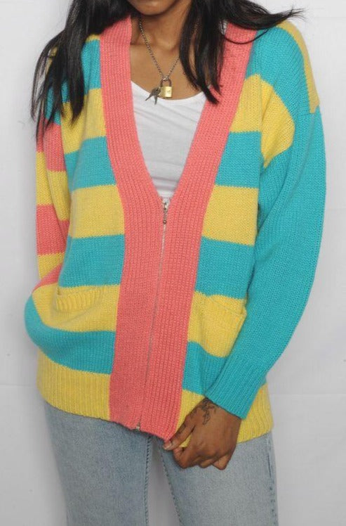 Multicolor Striped Zip Up Cardigan