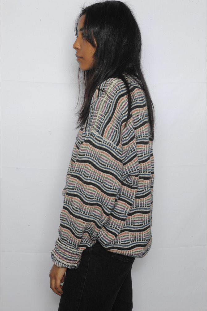 Multicolor Striped Grandpa Sweater