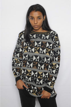 Metallic Geometric Sweater