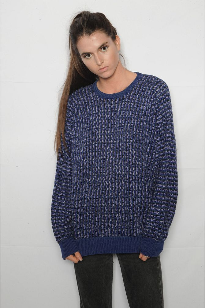 Navy and Purple Grandpa Sweater