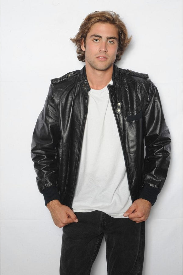 Black Leather Bomber