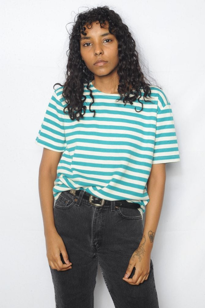 Turquoise Striped Tee