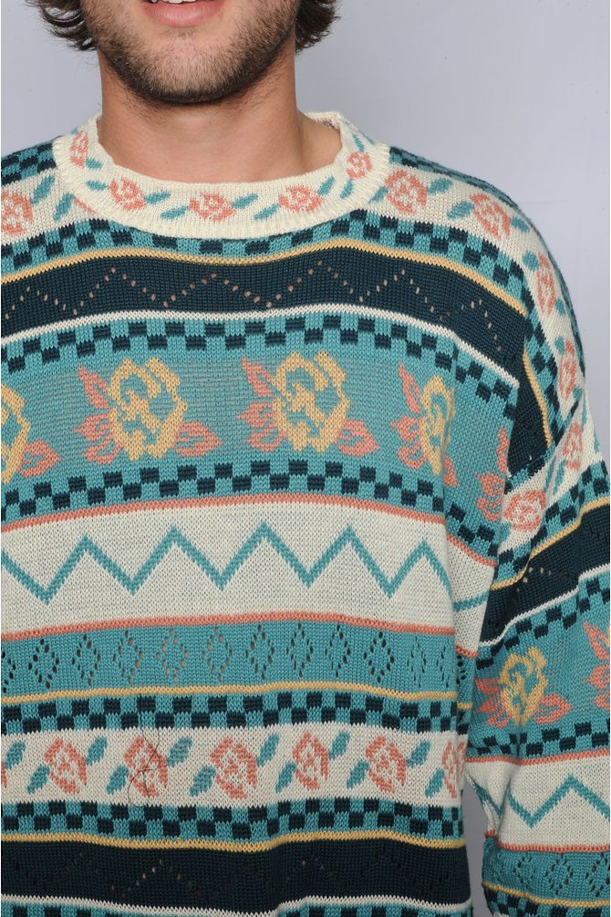 Floral Geometric Sweater