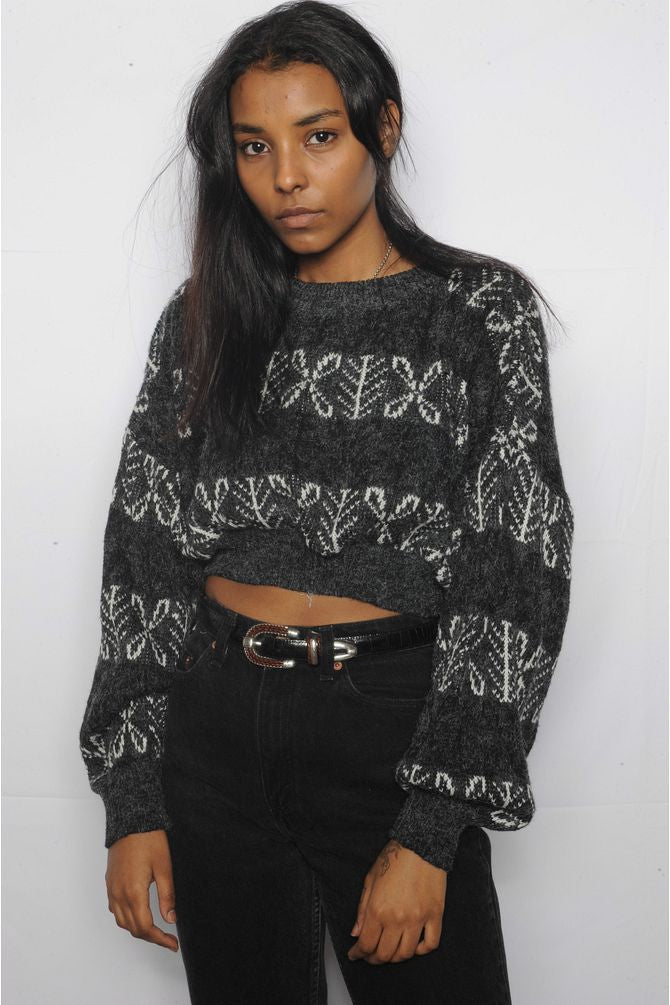 Cropped Charcoal Sweater