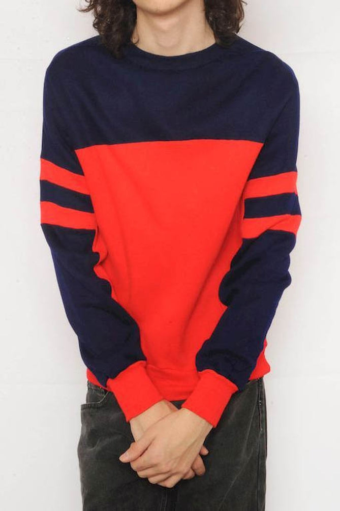 Navy and Red Colorblock Sweatshirt