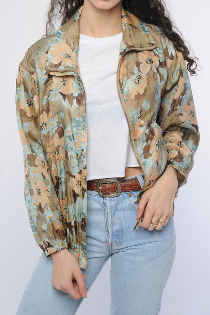 Floral Silk Windbreaker