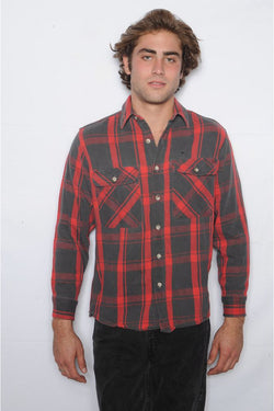 Red and Black Plaid Flannel Shirt