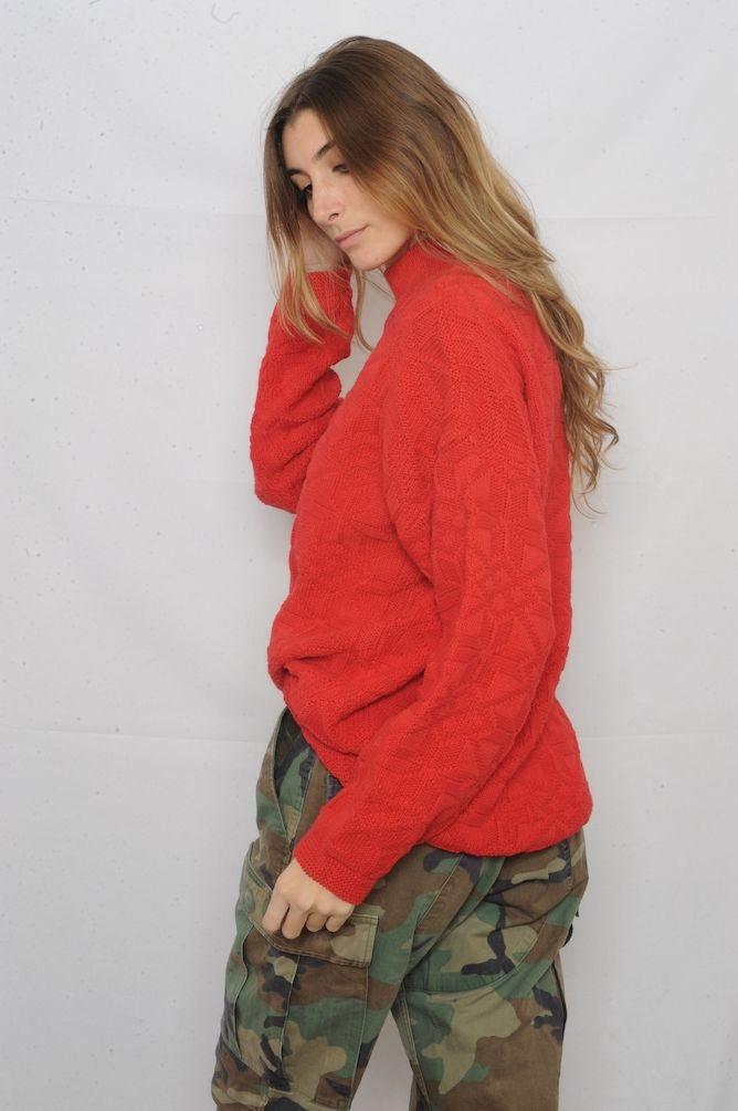 Red Textured Mock Neck Sweater