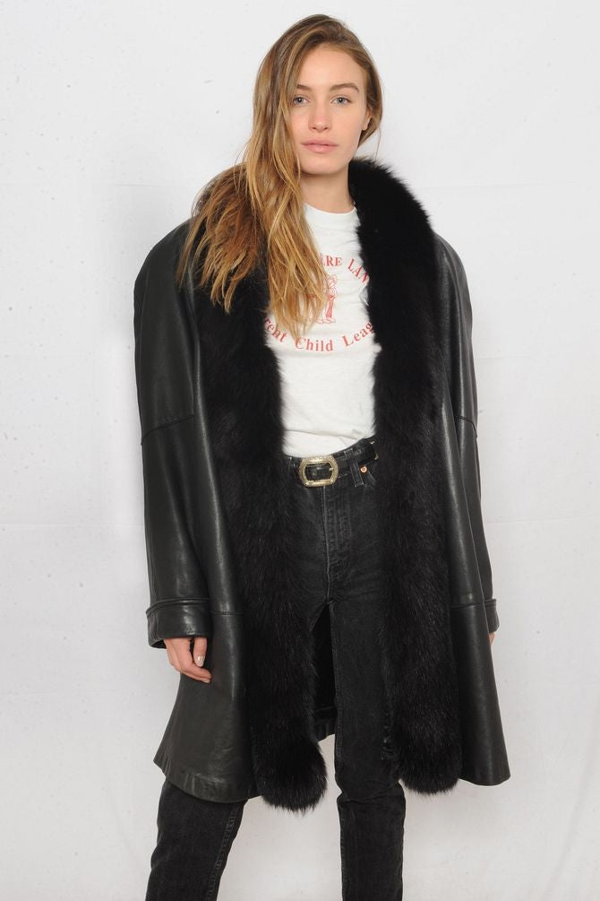 Fox Trimmed Leather Trench