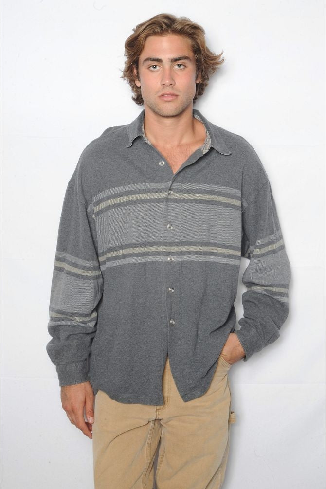 Gray Striped Flannel Shirt