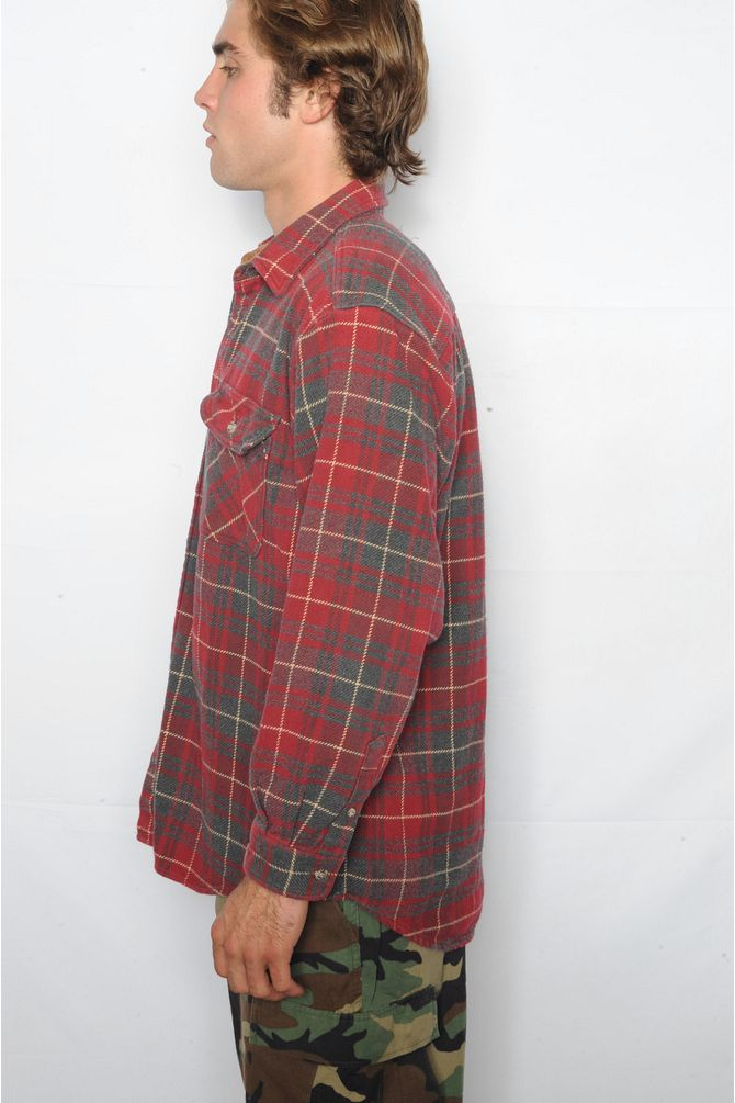 Red and Gray Plaid Flannel Shirt