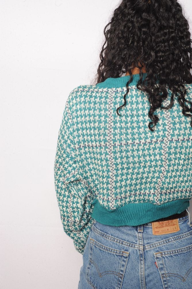 Blue Houndstooth Cropped Sweater