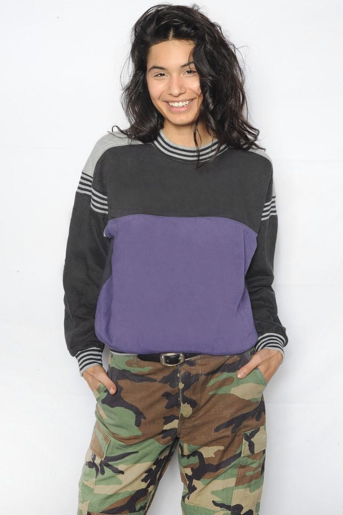Purple & Black Colorblock Sweatshirt