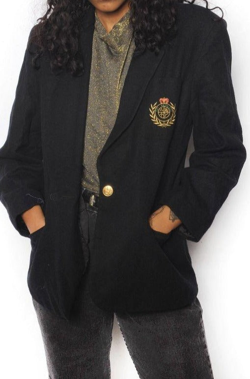 Embroidered Black Wool Blazer