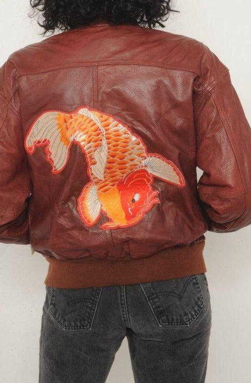 Red Koi Fish Leather Bomber