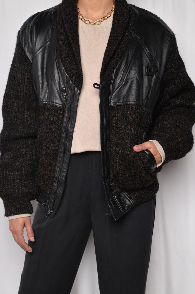 Sherpa Lined Knit Leather Bomber