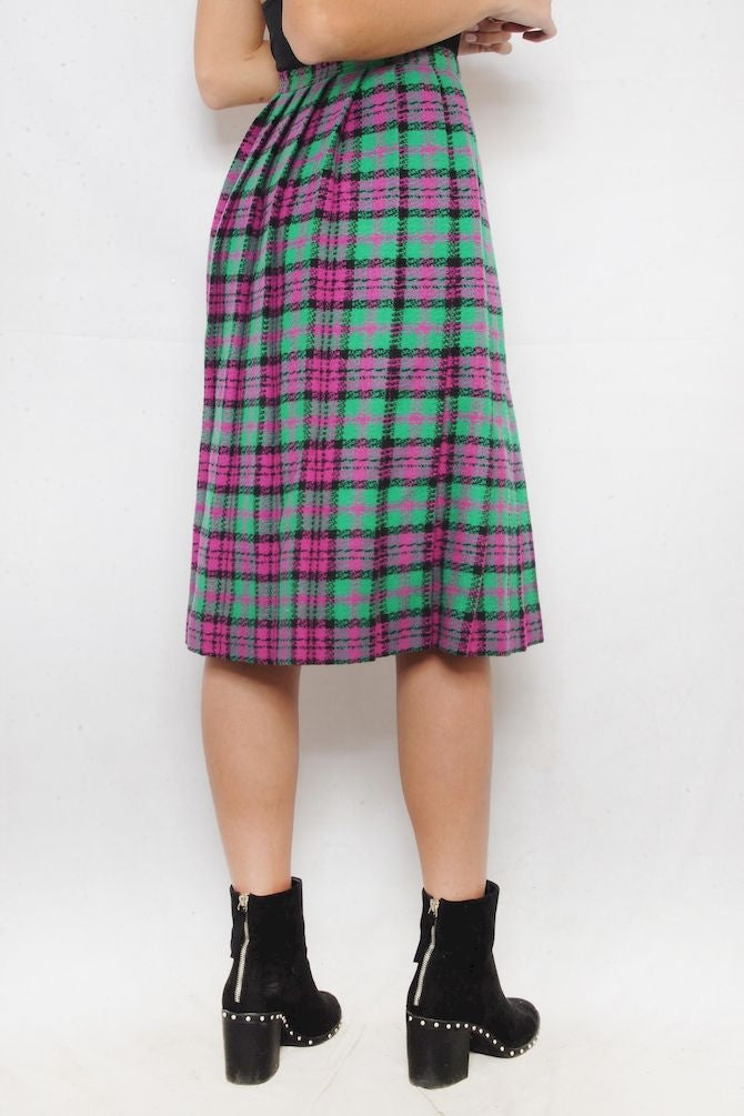 Pink and Green Pleated Plaid Skirt