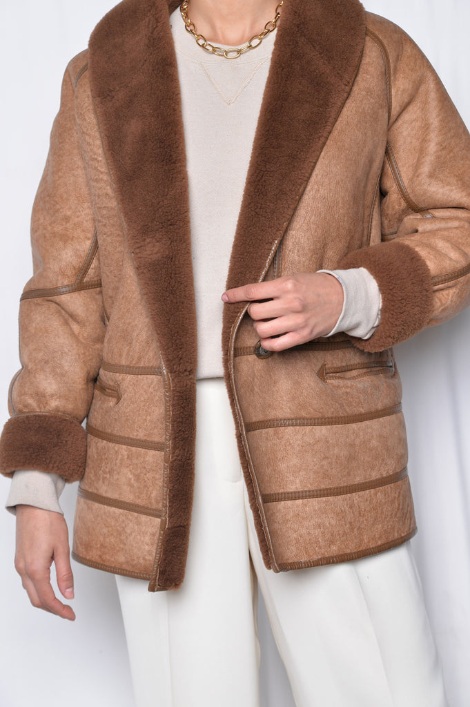 Whiskey Shearling Coat