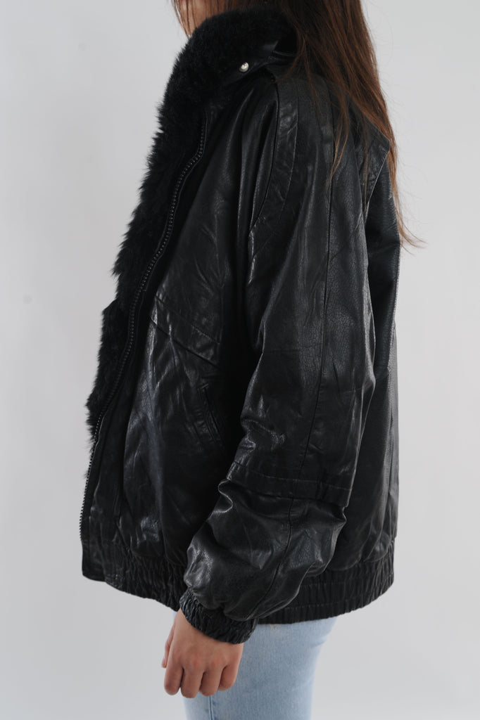 Rabbit-Lined Leather Bomber