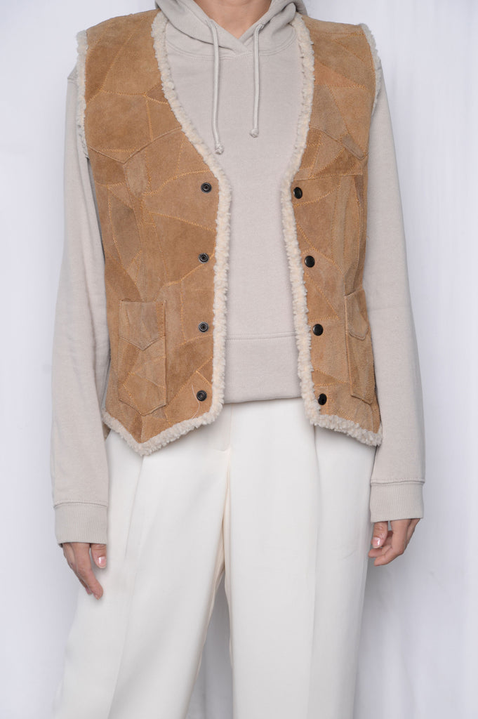 Suede and Shearling Vest