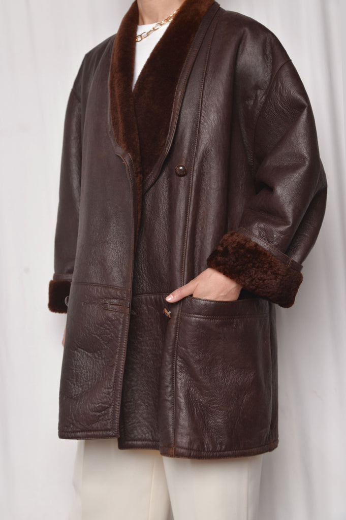 Brown Leather Shearling Coat