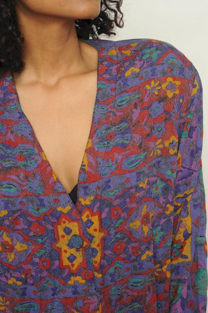Abstract Button Blouse
