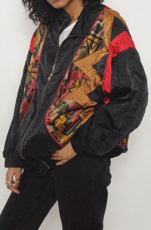 Velvet Accent Black Windbreaker