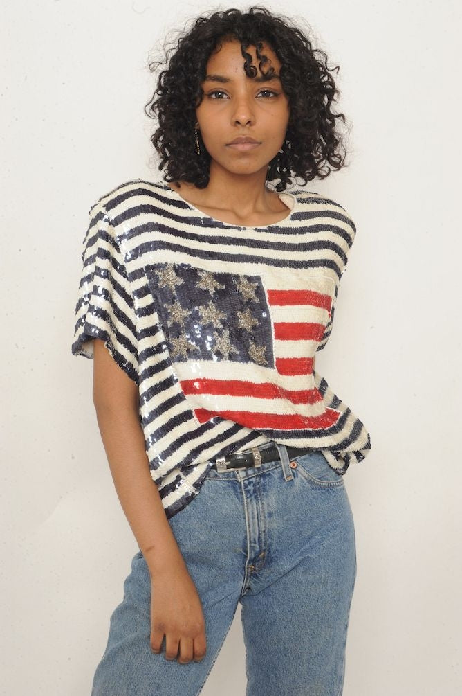 American Flag Sequin Top