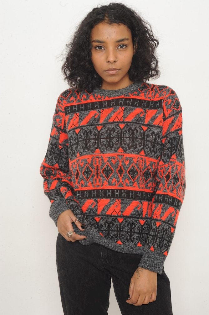 H Geometric Grandpa Sweater