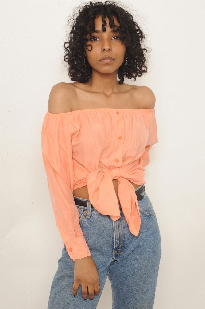 Peach Silk Off-The-Shoulder Top