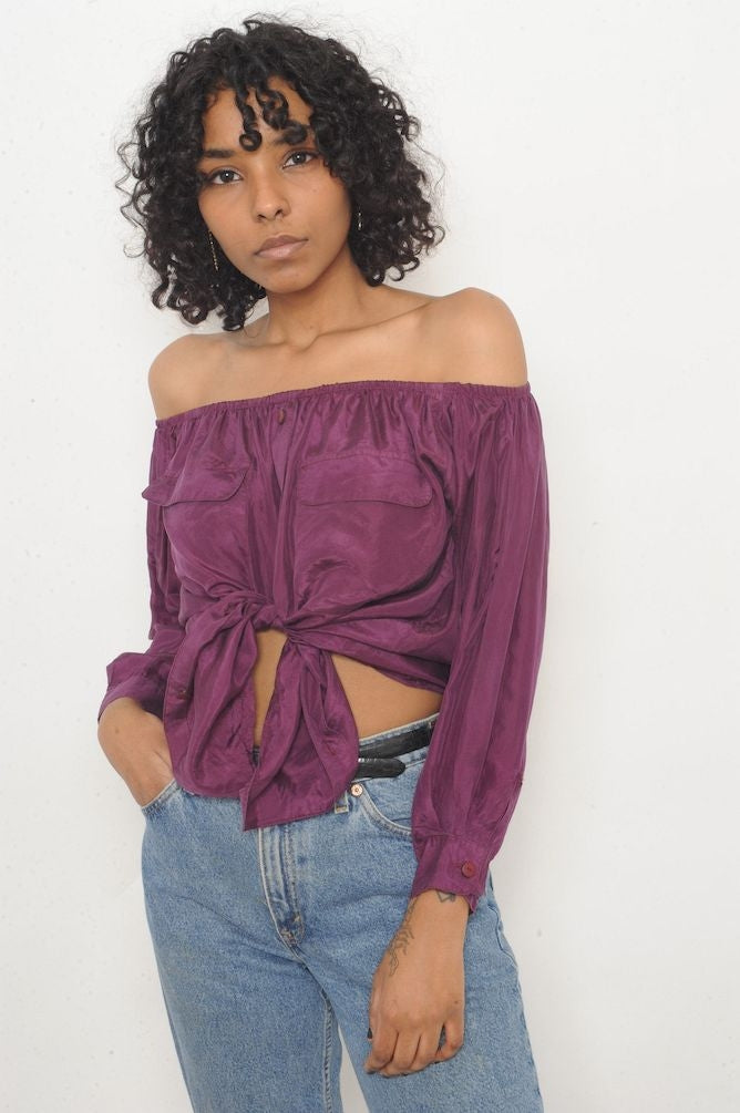 Berry Silk Off-The-Shoulder Top