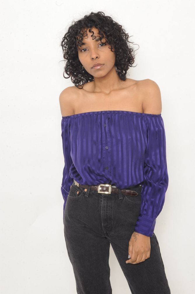 Purple Silk Off-The-Shoulder Top