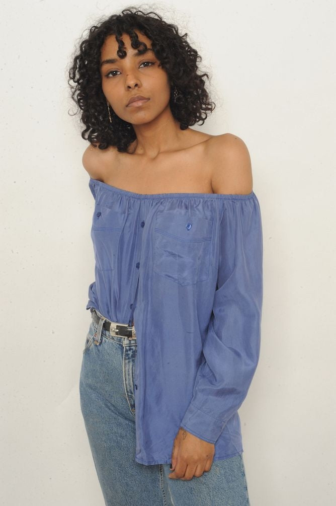 Periwinkle Silk Off-The-Shoulder Top