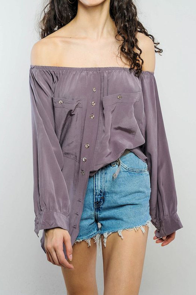 Mauve Silk Off-The-Shoulder Top